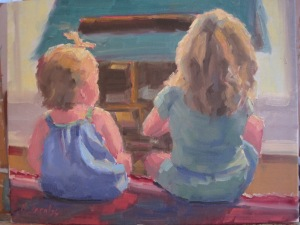 """Playing Together""--11X14 Oil on Canvas"
