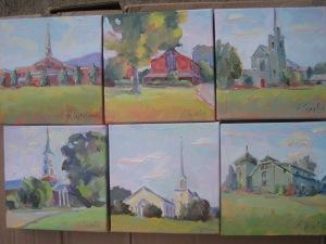 """Songs of Praise"" series--local churches--6X6 oils on canvas"
