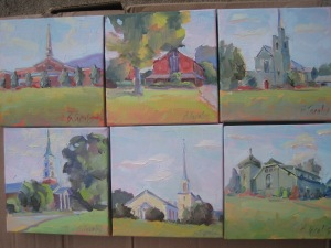 """Songs of Praise"" series--local churches--6X6 oils on canvas"